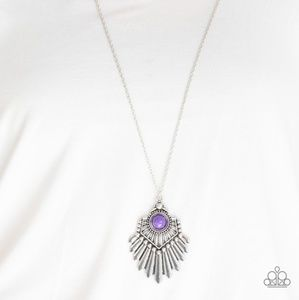 Silver Necklace With Purple Stone Pendant